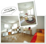 2階居室の間の壁は構造に関係のない「フリーウォール」設計